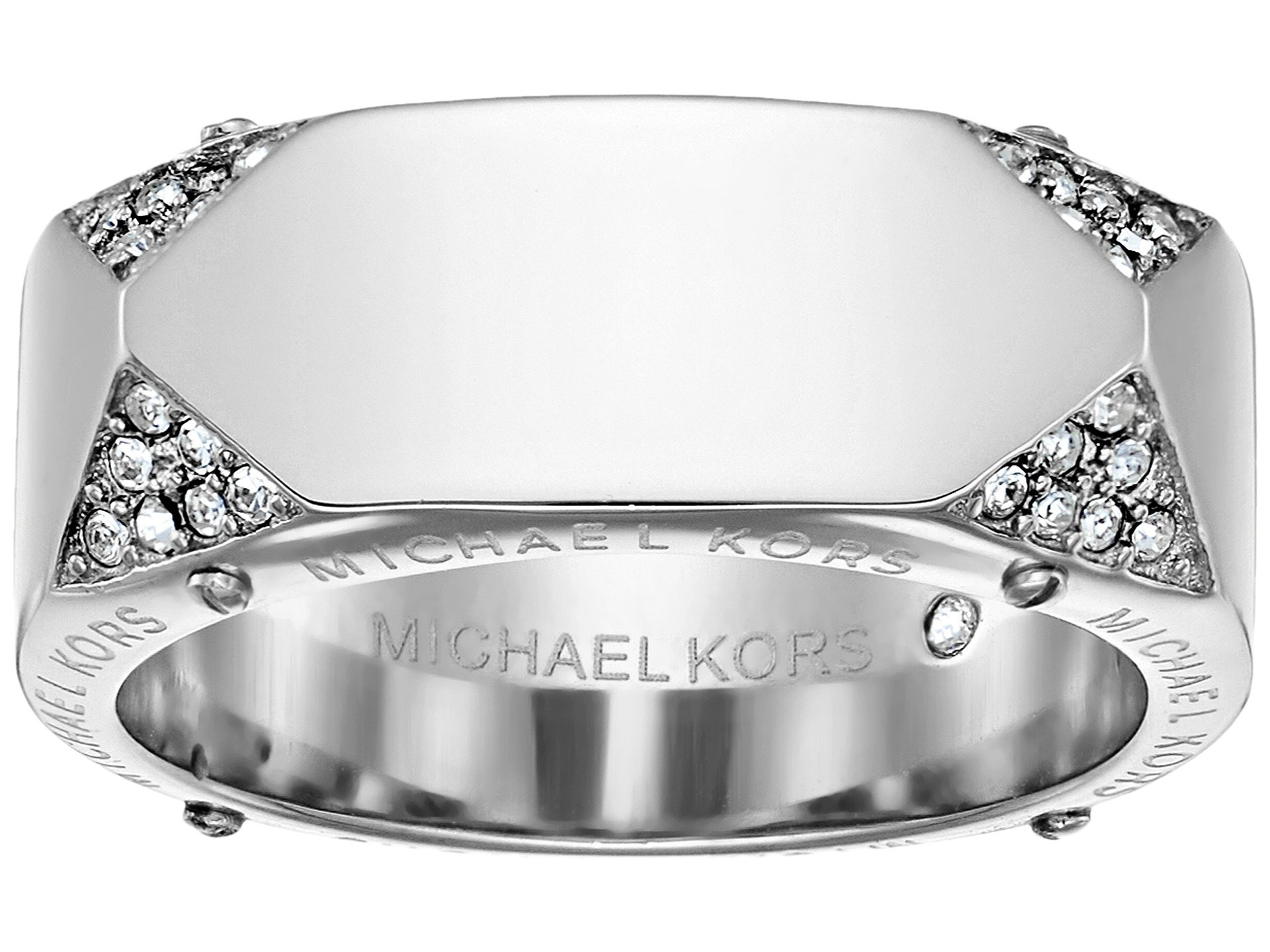 michael kors brilliance banded ring with logo and pave. Black Bedroom Furniture Sets. Home Design Ideas