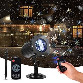 Christmas Projector Lights, KINGWILL Snowfall LED Lights Snowflake Rotating Projector Lights with Remote Control, Waterproof Outdoor Christmas Lights Night Light for Home Garden Wedding Party Decor