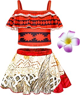 Jurebecia Moana Costume Girls Crop Top Tassel Skirt Dress Up Party Cosplay Clothes Set Kids Outfits 1-10Years