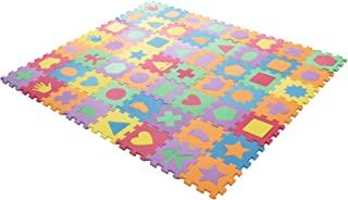 Interlocking Foam Tile Play Mat with Shapes - Nontoxic Children's Multicolor Puzzle Tiles for Playrooms, Nurseries, Gyms a...