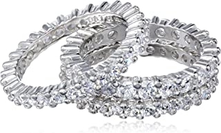 Sterling Silver Cubic Zirconia All-Around Band Stacking Ring Set (Set of 3)