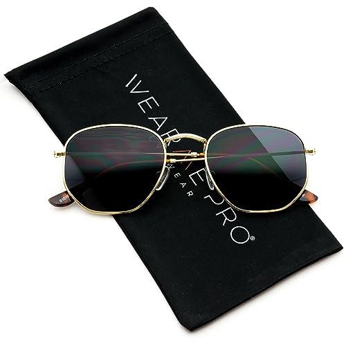 c0a8d1adb8 WearMe Pro - Geometric Round Gold Frame Retro Sunglasses