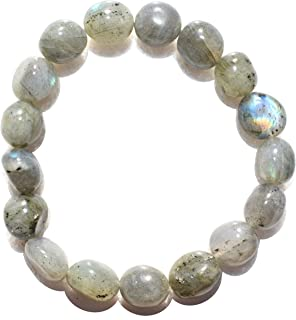 Zenergy Gems Selenite Charged Natural Labradorite Crystal Bracelets (Healing Energy/Transformation/Clarity)