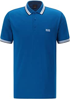 BOSS Mens Paddy Cotton-piqué Polo Shirt with Striped Collar and Cuffs