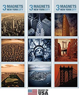 9 New York Refrigerator Magnets. Three Sets of 3 Magnets Each in Elegant Packaging Inside Crystal Clear Bag. Our Fridge Magnets are Made in USA.