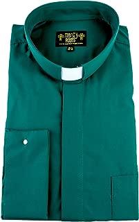 Mens Green Long Sleeve French Cuff Tab Collar Clergy Shirt