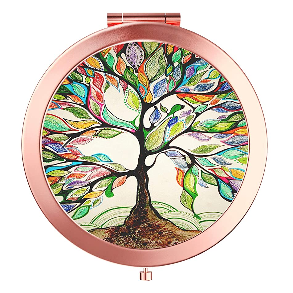 Imiao Life Tree Makeup Mirror Rose Gold Compact Mirror Portable Hand Mirror Round Mini Pocket Mirror With 2 x 1x Magnification For Woman,Mother,Girls,Great Gift - Life Tree