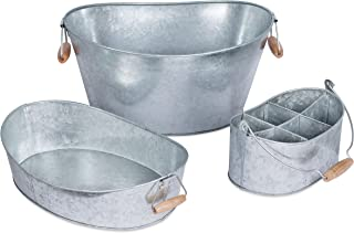 BirdRock Home Galvanized Beverage Tub, Caddy and Tray Set - 3 Piece - Party Tray Platter Drink Holder - Silverware Caddy - Wooden Handles