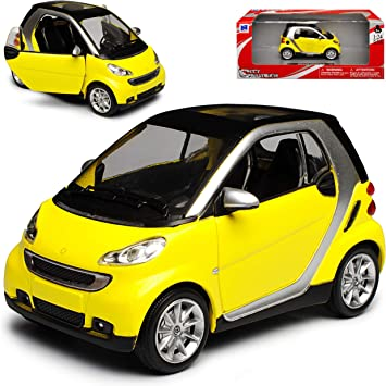 New Ray Smart Fortwo C451 2 Türer Gelb 2007 2015 1 24 Modell Auto Mit Individiuellem Wunschkennzeichen Spielzeug