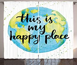 LESKETH Quote Curtains, Cartoon Like World Print in Blue and Green with This is My Happy Place Lettering, Living Room Bedroom Window Drapes 2 Panel Set,Multicolor110 Inch X 110 Inch