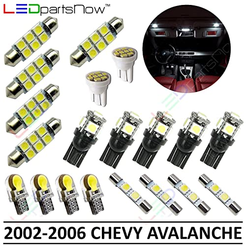 LEDpartsNow Interior LED Lights Replacement for 2002-2006 Chevy Avalanche Accessories Package Kit (20 Bulbs), WHITE