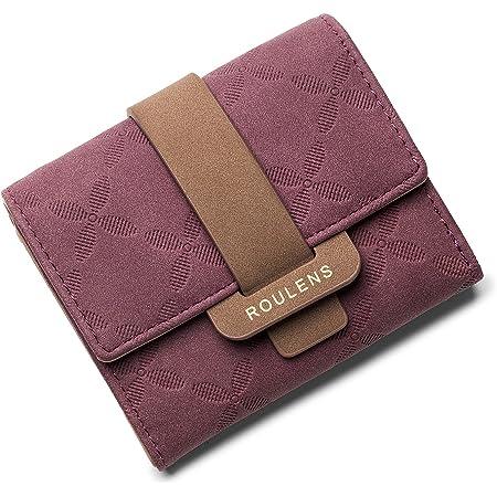 Roulens Geldbörse Damen RFID Blocking Portemonnaie Damen 100% Veganes Leder Klein Damen Geldbeutel mit 5 Kartenfächern und 1 ID Fenster