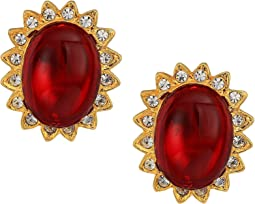 Gold with Crystal Trim Ruby Cabochon Center Clip Earrings