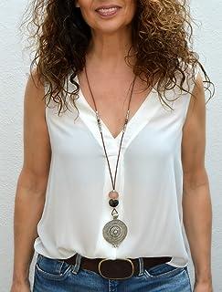 Collar largo de cuero para mujer en estilo celta, joyería moderna