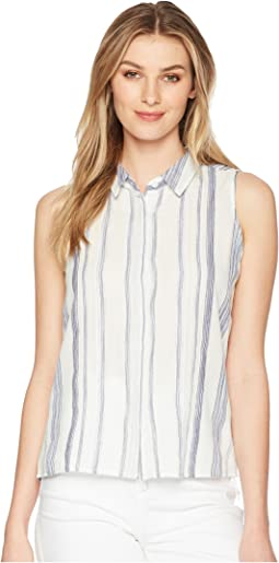 Button Down Striped Collar Top