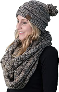 Funky Junque C.C Womens Infinity Scarf and Pom Beanie Matching Winter Bundle Set