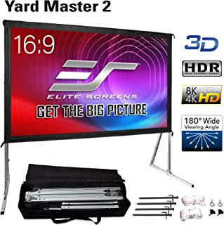 "Elite Screens Yard Master 2, 120 inch Outdoor Projector Screen with Stand 16:9, 8K 4K Ultra HD 3D Fast Folding Portable Movie Theater Cinema 120"" Indoor Foldable Easy Snap Projection Screen, OMS120H2"