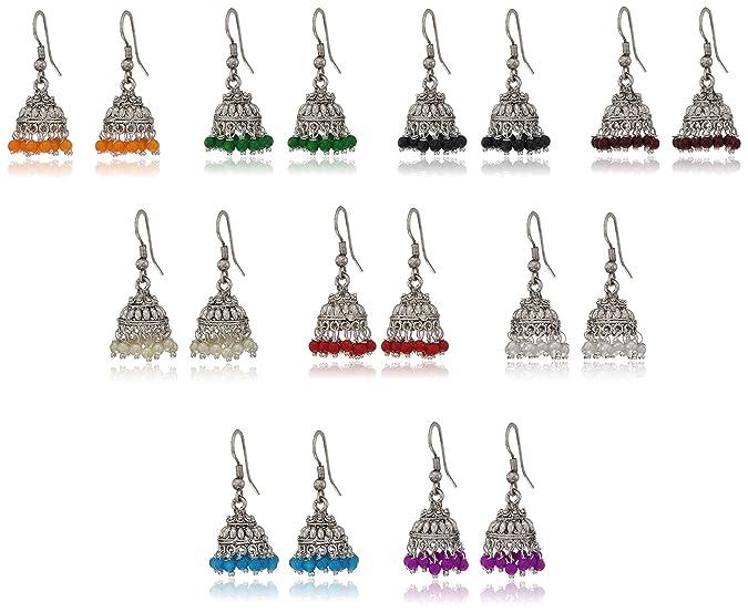 Sukkhi Exclusive Multicolor Brass Oxidized Silver Jhumki Earrings for Women - Combo of 9