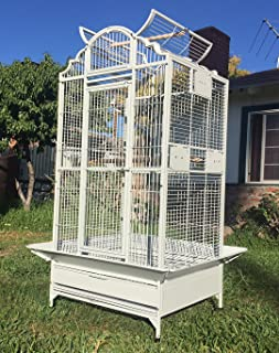 New Large Play Dome Top Wrought Iron Bird Parrot Parttot Finch Macaw Cockatoo Cage Including Stand, Seed Guard and Play Top Stand