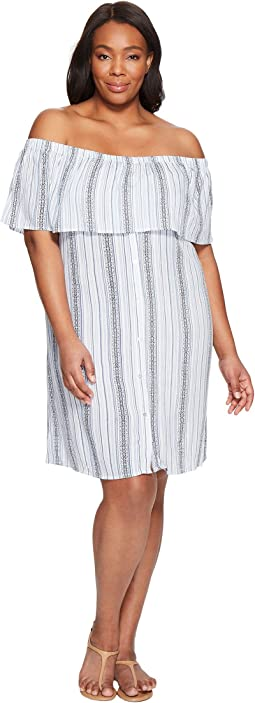 B Collection by Bobeau - Plus Size Rosie Off Shoulder Flounce Dress