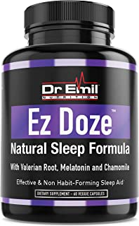 Dr. Emil - Natural Sleep Aid with Valerian Root, Melatonin, Chamomile and More - Extra Strength Sleeping Pills for Adults – Safe and Non-Habit Forming (60 Veggie Capsules)