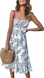 52d789d2 Angashion Women's Dresses - Summer Boho Floral Spaghetti Strap Button Down  Belt Swing A line Midi