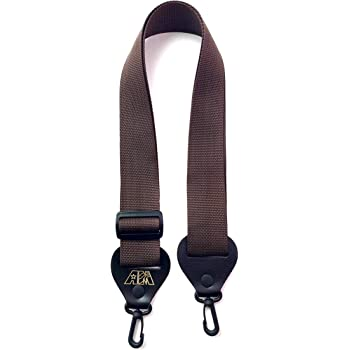 Banjo Strap Quality Brown Nylon Adjustable Length Solid Leather Ends With Quick And Easy Clips Made In U.S.A.