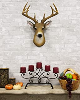 Ebros Rustic 12 Point Buck Trophy Taxidermy Wall Decor Deer Head with Antlers Sculpture Hanging Plaque Figurine 21.5