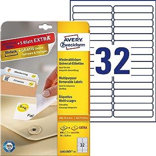Avery Removable Labels 96 x 16,9mm (25) - Etiquetas de impresora (96 x 16, 9mm)
