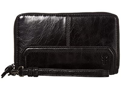 Frye Mel Zip Wallet (Black) Wallet Handbags