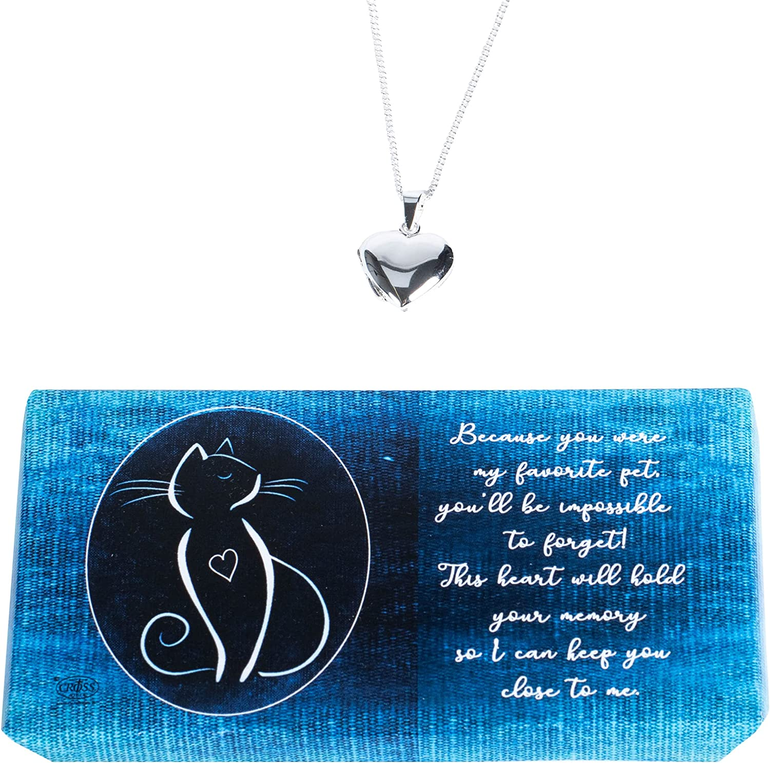 Dicksons Cat Remembrance Heart Locket Me Inches Plated Store 18 Max 71% OFF Silver
