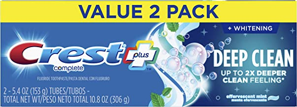 Crest Plus Deep Clean Complete Whitening Toothpaste, Effervescent Mint, 5.4 Ounce, 6 Count