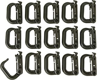 Juvale Multipurpose D-Ring - 15-Pack Plastic Carabiners,  Tactical Carabiners,  Locking Carabiners,  Tactical Clips for Molle Webbing,  Climbing,  Camping,  Backpacking,  Hiking,  2 x 1.5 x 0.4 Inches
