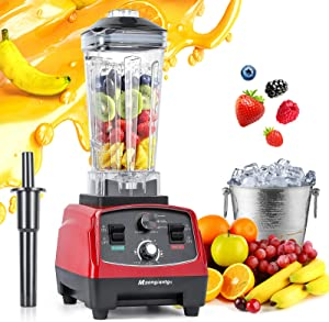 Moongiantgo Professional Blender 2200W Countertop Blender for Shakes and Smoothies 48000RPM High Speed Blender with Timer for Kitchen Ice Frozen Fruit Nut Butter Home Commercial Use (Red, 110V)