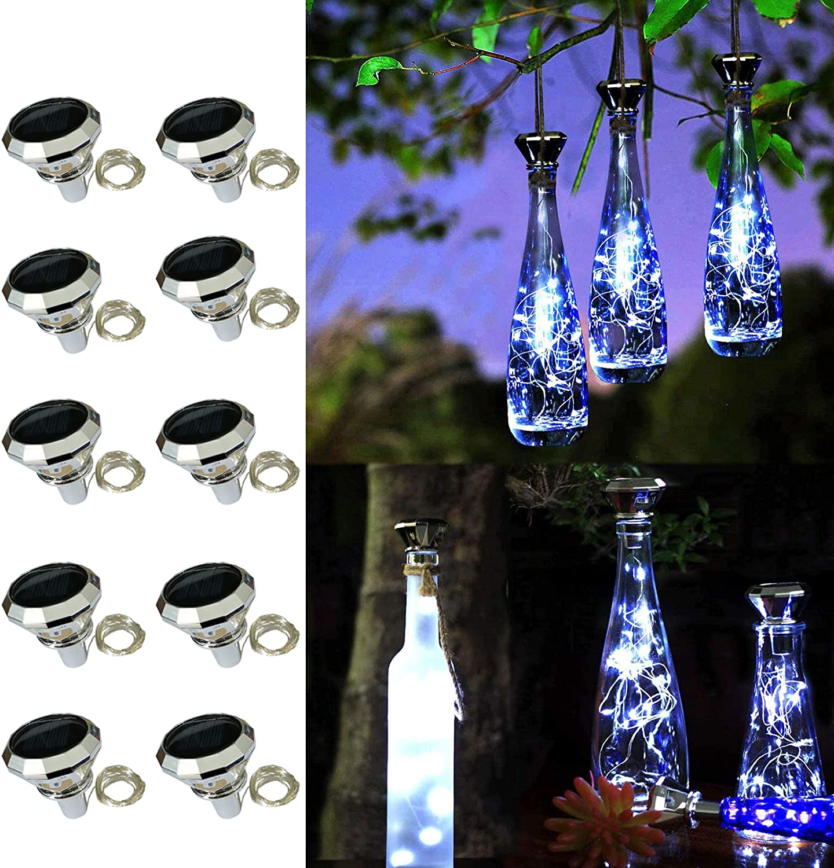 Solar Diamond Bottle Lights, 10 Pack Solar Powered Wine Bottle Lights, 20 LED Waterproof Bottle Lights Fairy Cork String Craft Lights for Garden Patio Outdoor Tabletop Decor (Cool White)