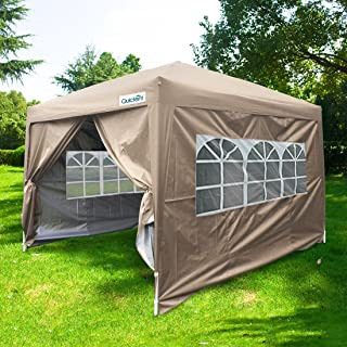 Quictent Silvox 10x10 EZ Pop Up Canopy Tent Party Tent with Sidewalls and Roller Bag Waterproof (Beige)