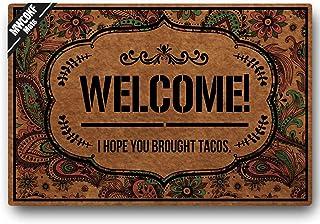 MWCOKF Funny Doormat Entrance Door Mat Floor Mat Welcome I Hope You Brought Tacos | Standard Outdoor Welcome Mat | Indoor ...