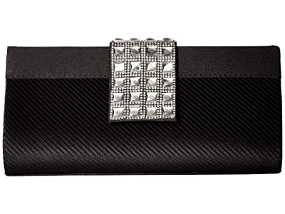 Jessica McClintock Elina Jeweled Clutch (Black) Clutch Handbags