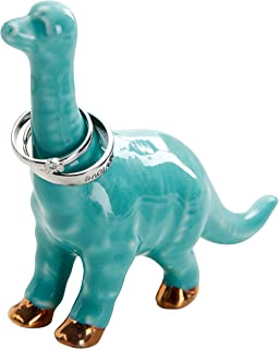 Jojuno Ceramic Adorable Little Dinosaur Ring Holder for Jewelry and Rings, Engagement Ring and Wedding Band Display, Cyan Color