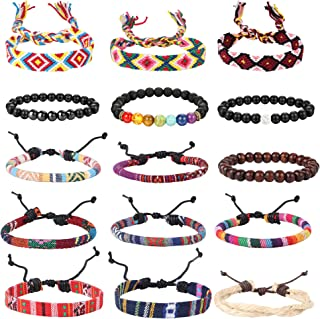 15Pcs Ethnic Tribal Bead Bracelet for Men Women Boho Hemp Cords Wood String Bracelet Woven Strand Bracelet