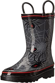 Western Chief Boys Waterproof Printed Rain Boot with Easy Pull On Handles, Spider Crawl, 8 M US Toddler