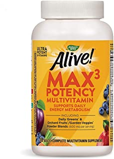 Nature's Way Alive! Max3 Daily Adult Multivitamin, Food-Based Blends (1, 060mgper serving) &...