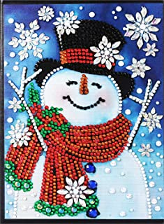 EOBROMD Diamond Painting Notebook 108 Pages with Flexible Cover, DIY Special Shaped Diamond Painting Ruled Composition Notebook for School/Office Writing and Planning - Smiling Snowman 5.8x8.2