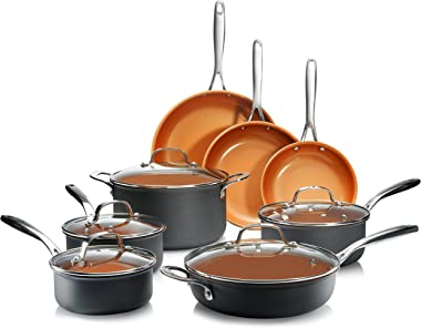 Gotham Steel Hard Anodized Pots and Pans 13 Piece Premium Cookware Set with Ultimate Nonstick Ceramic & Titanium Coating, Oven and Dishwasher Safe, Copper