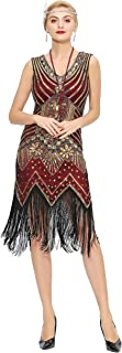 Metme Women's Flapper Dress 1920s V Neck Beaded Fringed Gatsby Theme Roaring 20s Dress for Prom