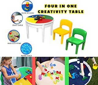 Think Fast Toys 4-in-1 Activity Table - Water, Sand, Craft, and Block Table - Includes 2 Chairs and 25 Blocks