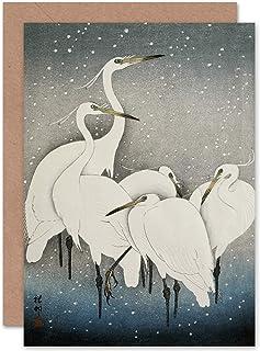 Ohara Koson Group Of Egrets Japanese Painting Fine Art Greeting Card Plus Envelope Blank Inside グループ日本語ペインティング