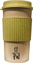 Travel PAL - Eco Friendly Reusable Travel Coffee Cup - 16oz   Takeaway Bamboo Mug with Lid   Plastic & BPA Free   Eco Cup   Organic Bamboo Fibre   Green