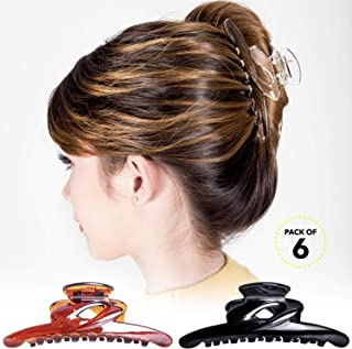 RC ROCHE ORNAMENT Womens Thin Long No Slip Strong Grip Sectioning Styling Salon Premium Butterfly Jaw Claw Clamp Professional Salon Hair Accessory Clips, 6 Pack Count Large Clear Brown and Black
