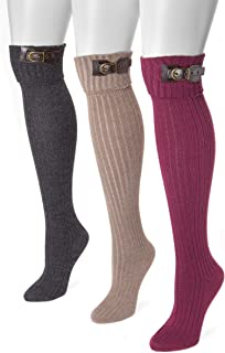 Muk Luks Women`s 3 Pair Buckle Cuff Over the Knee Socks